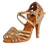 HIPPOSEUS Mujeres Salón de Baile Latino Zapatos Rhinestones Suela de Ante,ESQ-CYL357,Bronce Color,EU 36