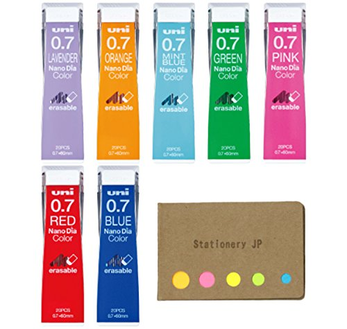 Uni NanoDia Color Mechanical Pencil Leads, 0.7mm, 7 Colors, 7-pack/total 140 Leads, Sticky Notes Value Set
