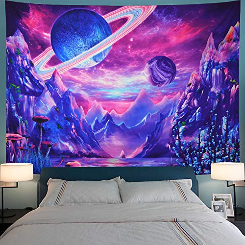 Serborlur Planet Tapestry Trippy Mountain Tapestry Psychedelic Galaxy Space Tapestry Fantasy Mushroom Tapestry Magic River Landscape Tapestry Wall Hanging for Bedroom
