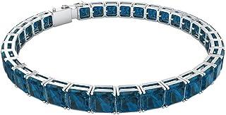 16.5 Ct Blue Topaz London Square Bracelet, SGL Certified Asscher Cut Gemstone Charm Bracelet, Statement Gold Bracelet, Wedding Anniversary Bracelet