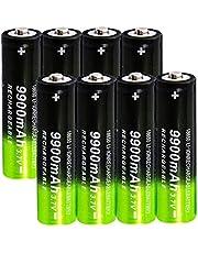 2/4/8 stycken 18650 Bateria 3.7v / 9900mah uppladdningsbara batterier 1800 cykler för Icr18650 litiumbatterier Li-Ion Bateria för power bank strålkastare ersättning ficklampor-8 stycken