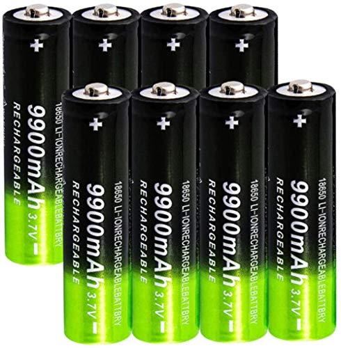2/4/8 Piezas 18650 Bateria 3.7v / 9900mah batería baterías Recargables 1800 ciclos para Icr18650 baterías de Litio Li-Ion Bateria para Power Bank Faros linternas de Repuesto-8 Piezas
