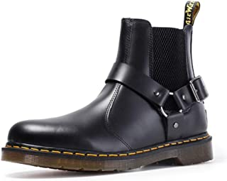 Dr. Martin unisex boots Couple Chelsea boots large size leather ankle boots black leather buckle boots Unisex Adults' Boots Waterproof and anti-skid design (Color : Black, Size : 39)
