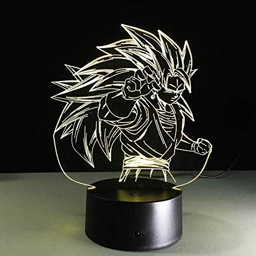 Personajes de anime Lámpara de ilusión LED 3D Luz nocturna Mesita de noche óptica Luces nocturnas 16 Cambio de color Botón táctil Decoración Lámparas de escritorio,