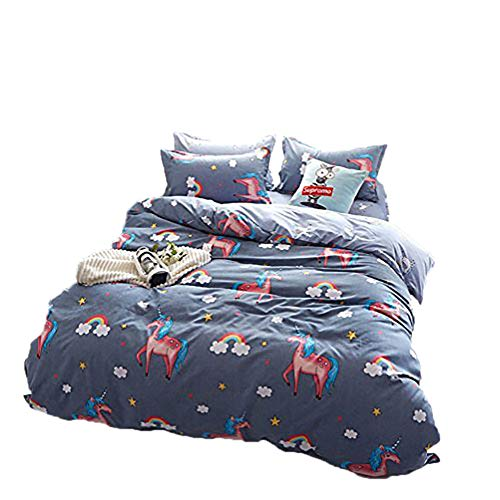 BeddingWish Blue unicorn comforter Set(No Comforter and Sheet) for Kids Teen Boys and Girls,Duvet Cover Set with 2 Pillow Shams(3pcs,Twin)