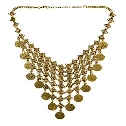 P Prettyia Moneda De Oro Babero Gargantilla Collar Borla Clavícula Estilo Gitano Lady Girl Collar
