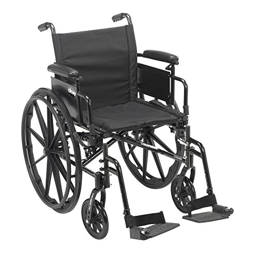 Drive Medical Cruiser X4 Lightweight Dual Axle Wheelchair with Adjustable Detachable Arms, Desk Arms, Swing Away Footrests, 18