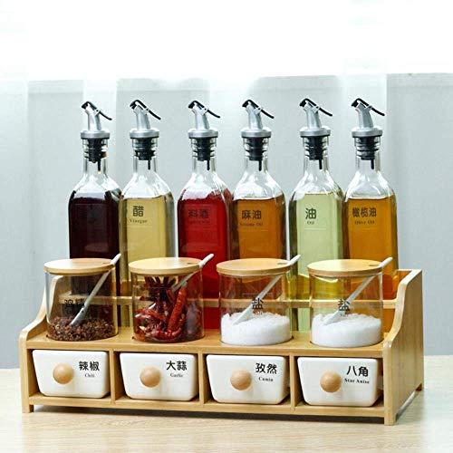 ZFFSC Europese Huishoudelijke Kruiden kunnen Keramische Glas Oiler kruiden Salt Shaker Cassette Opbergdoos Set Huishoudelijke Keuken Saus De kruiden fles