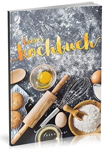 Dékokind® Leeres Kochbuch: Für über 80 Lieblingsrezepte || Ca. A5 Softcover || Rezeptbuch zum Selbstgestalten / Selberschreiben mit Inhaltsverzeichnis || Motiv: Backrezepte