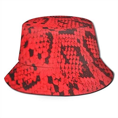 Unisex Bucket Hat Fashion Rote Schlangenhaut UV Packable Fisherman Cap