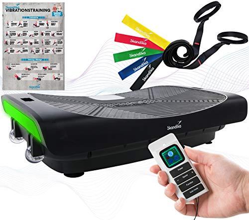 skandika 4D Vibrationsplatte V3000 | Vibration Plate im Curved Design mit Smart LED Technologie, Trainingsvideo, Bluetooth-Lautsprecher und Trainingsbändern | Fitnessgerät für Zuhause | Schwarz