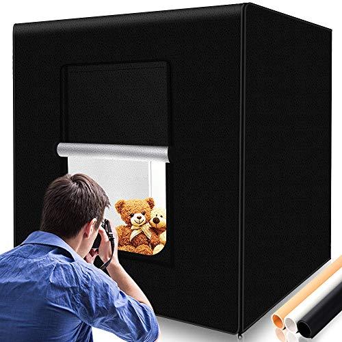 SAMTIAN Lichtzelt 80x80x80cm, Portables mobiles Fotostudio/Licht-Box mit 3 verschiedenen Hintergründen (schwarz, weiß, gelb)