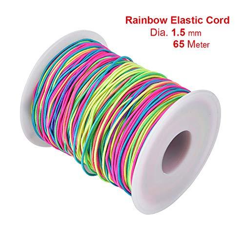 Cordón elástico de 10 metros de color arcoíris para cuentas de hilo elástico de tela para manualidades, 1,5 mm
