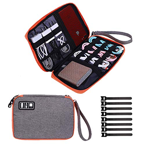 Travel Cable Organizer Bag Waterproof Portable Electronics Organizer Accessories Case with 8 Cable Ties for USB Cable Cord Phone Charger Headset Wire SD Card (10.23 inch, Orange)
