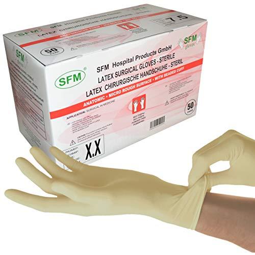 SFM ® OP Latex STERIL : 6.0, 6.5, 7.0, 7.5, 8.0, 8.5, 9.0 puderfrei texturiert chirurgische OP-Handschuhe Einmalhandschuhe Einweghandschuhe weiß 7.5 (50 Paare)