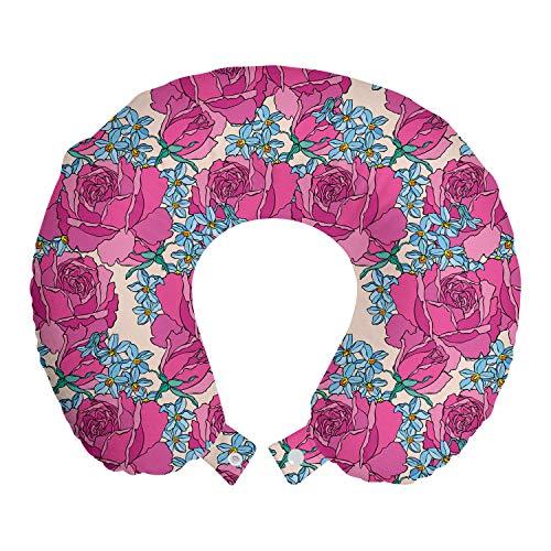 ABAKUHAUS Floral Oreiller Cervical de Voyage, Gros Plan Roses et Fleurs, Accessoire en Mousse à Mémoire pour Voyage, 30 cm x 30 cm, Champagne Rose