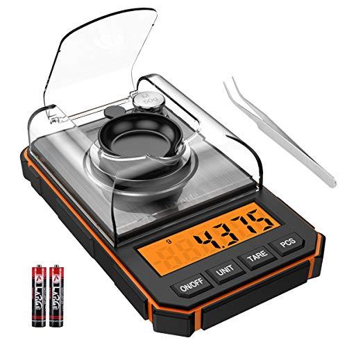 ORIA デジタルスケール キッチンスケール 0.001g単位 電子スケール 精密電子はかり 電子天秤 0.006g~50g クッキングスケール 高精度計量器 計量器 コンパクト 計量可能 風袋引き機能 はかり皿 家庭用 miniサイズ(オレンジ)