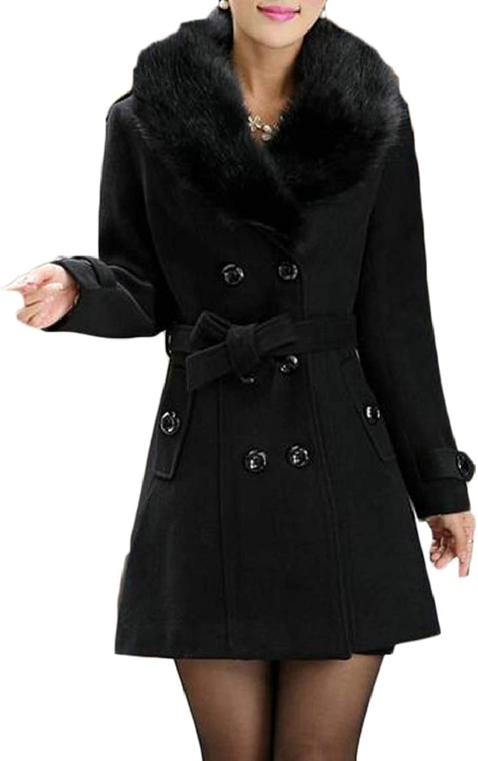 QDCACA Women's DoubleBreasted Slim Solid WoolBlend Solid Pea Coats