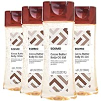 4-Pack Amazon Brand Solimo Body Oil Gel with Cocoa Butter