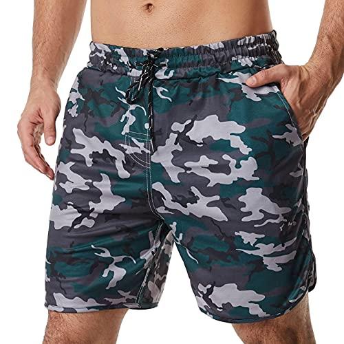 Binle Pantalones Cortos Deportivos de Camuflaje para Hombres,cómodos bañadores para Hombres,Pantalones Cortos de Entrenamiento cómodos,Bolsillos con cordón,Material de Fibra de poliéster