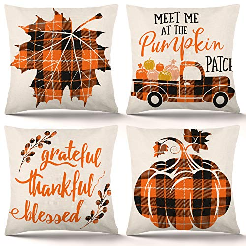 ZJHAI Fall Pillow Covers 18×18 Inch Set of 4 Autumn Farmhouse Buffalo Plaid Pillow Covers Holiday Rustic Linen Pillow Case for Sofa Couch Farmhouse Thanksgiving Fall Decorations Throw Pillow Covers