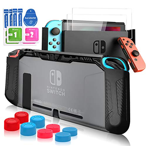 Pengkun Carcasa para Nintendo Switch - Funda para Nintendo Switch 13 en 1 Kit de Accesorios, TPU Funda Compatible con Switch y Joy-Con, 2 Protector de Pantalla, 8 Tapas Empuñadura de Pulgar