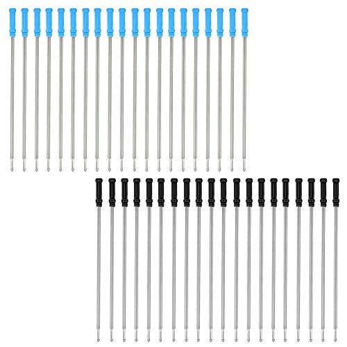 40 Pezzi Ricarica Penna a Sfera,Sostituibile Penna Ricarica Ricariche Scrittura Liscia 4.5 Pollici per la Scuola Ufficio (Nero e Blu)
