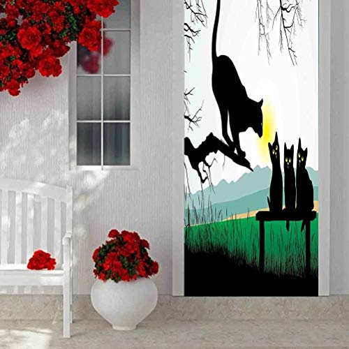 Home Decor 3D Self Adhesive Door Sticker, Cat Mother Cat on Tree Branch and Baby Kittens in Park Best Friends I Love My Kitty, Wallpaper 3D Door Wall Murals Decals Wall Sticker