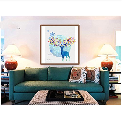 YaShengZhuangShi Impresión en Lienzo Dreamy Fancy Blue Reindeer with Gorgeous Horns Libro de visitas Recuerdo para Bodas Cumpleaños Baby Showers 60x60cm sin Marco