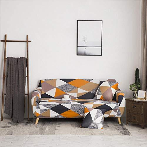 Funda de sofá Antideslizante de Poliéster Spandex Triángulo Multicolor Estampado,Funda elástica Antideslizante Protector Cubierta de Muebles para sofá de 2 plazas(1 Funda de Cojines)