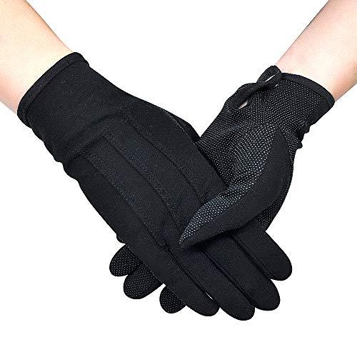 OLESILK Rutschfeste Parade Uniform Handschuhe Etiquette-Handschuhe für Frauen und Herren Baumwolle formelle Smoking Kostüm Ehrengarde Handschuhe mit Schnappverschluss, Schwarz, 2 Paare
