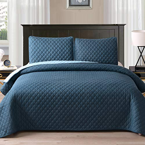 "Exclusivo Mezcla Ultrasonic Reversible 3-Piece Full/Queen Size Quilt Set with Pillow Shams, Lightweight Bedspread/Coverlet/Bed Cover - (Navy Blue, 92""x88"")"