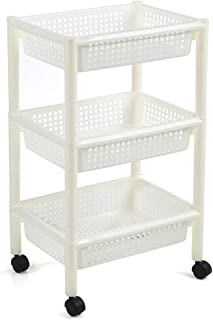 Kitchen Storage Trolley, 3/4 Tier Plastic Multi-Purpose Fruit Veg Rack with Baskets Wheels, Space Saving for Bathroom Livi...