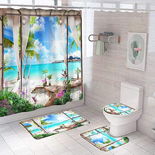 Yiran Juego Cortina Ducha 4 Piezas Paisaje Natural Tapa Inodoro Cubierta Lavable Decoración baño para el hogar Alfombra Piso Hotel Moderno Alfombras Antideslizantes poliéster(Los 200x200cmXiao751)