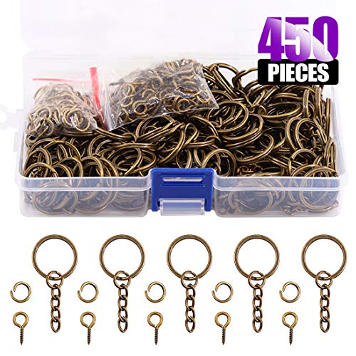 Swpeet 450Pcs 4/5 Inch 20mm Bronze Flat Key Chain Rings Kit, Including 150Pcs Split Keychain Rings with Chain and 150Pcs Jump Ring with 150Pcs Screw Eye Pins Bulk for Jewelry Findings Making