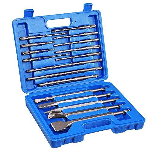 HYXL 17pcs SDS Plus Drehhammer Bohrer Bits Meißel Beton Mauerwerk Loch Werkzeug Set-blau