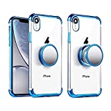 iPhone XR Clear Case with Stand Premium Soft TPU Protective Shockproof Case with Kickstand Grip Iron Mirror Fit Car Mount (Clear+Blue)