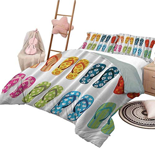 Beach Funny Coastal Sea Life 3-Piece Quilt Set Duvet Cover Colorful Sea Flip Flops with Flowers and Stars Polyester Quilt Cover and Pillowcases California King Size