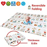 "Folding Kids Play Mat |【Easy to Clean, Fold Up】Non-BPA Non-Toxic Foam Baby Playmat 79"" x 70' 0.6"" Thick Extra Large Reversible Crawling Mat Portable Toddlers Waterproof Non-Slip Activity Tummy Time"