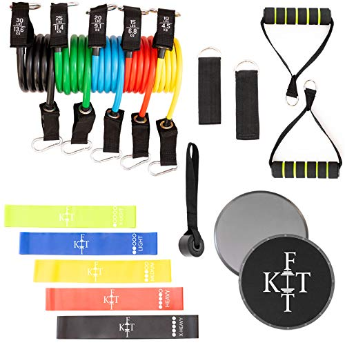 KITFit Resistance Band Set for Exercise (19 pcs): Resistance Bands with Handles, Loop Resistance Bands, Door Anchor, Ankle Straps, Carry Bag, Core Workout Sliders, Exercise eBook