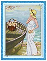 クロスステッチ刺繍キット 図柄印刷 初心者 ホームの装飾 刺繍糸 針 布 11CT Cross Stitch ホームの装飾 海の女の子 40X50CM