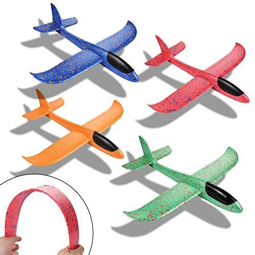 4 Stück Segelflugzeug,Segelflugzeug Kinder,Glider Plane Toy,Kinder Segelflugzeug Wurfspiel,Kids Foam Glider Plane, Manual Throwing Game Fun Challenge Model Foam Aeroplane(Blue Red Orange Green)