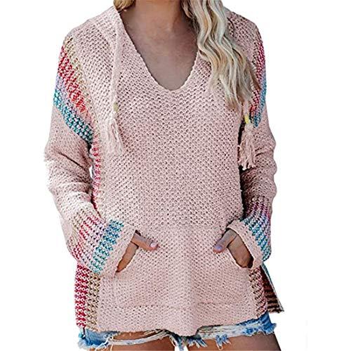 ZGRNPA Damen Hoodies Pullover Aushöhlen Pullover V-Ausschnitt Pullover Color Block Knit...