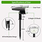 Claoner 32 LED Solar Landscape Spotlights, Wireless Waterproof Solar Landscaping Spotlights Outdoor Solar Powered Wall Lights for Yard Garden Driveway Porch Walkway Pool Patio- Cold White(2 Pack) Size