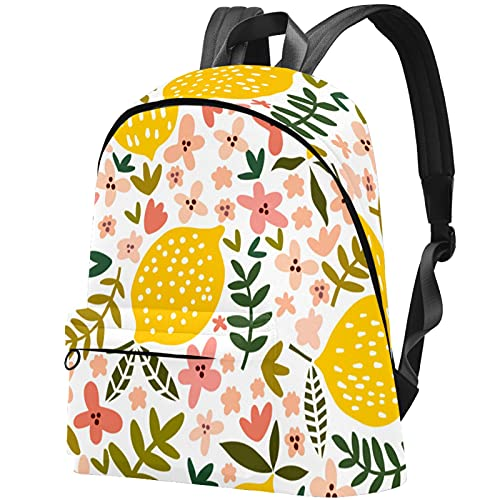 Mochila ligera Mochila escolar universitaria Mochila para portátil para adultos y adolescentes Mochila informal Fruta Limón con estampado floral