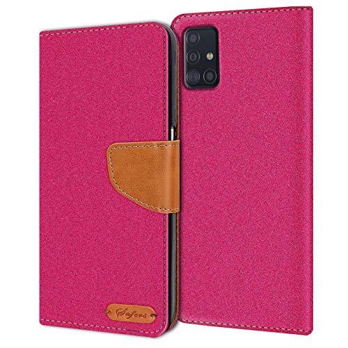 Verco Art Funda de Cuero Samsung Galaxy A51, Funda para teléfono móvil para Galaxy A51 Funda de Libro Tela, Rosa