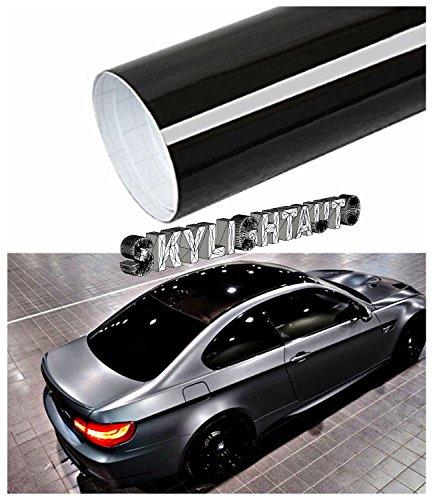 skylightauto 60' X 53' Gloss Black Vinyl Film Wrap Sheet with Air Release Pockets Bubble Free
