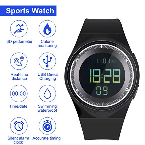 RCruning-EU Schrittzähler Fitness Armband Wasserdicht IP68 Aktivitätstracker,Schrittzähler,Kalorienzähler Ohne Bluetooth für Damen Kinder Herren Ohne App Handy (White)