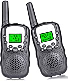Kids Walkie Talkies 22 Channel Walkie Talkies for Kids 3 Miles Long Range Handheld 2 Way Radio with Backlit LCD Flashlight Gifts for 3-12 Year Old Boys Girls Outside Adventure 2 Pack Black