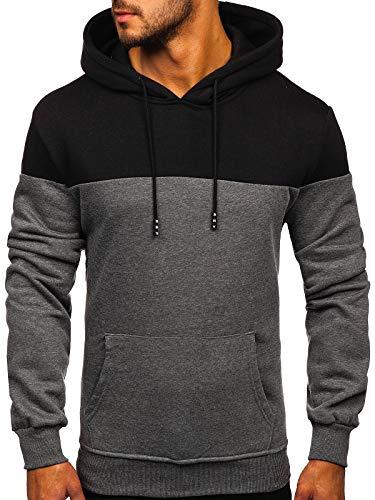 BOLF Hombre Sudadera Cerrada con Capucha Pulóver de algodón Hoodie Jersey Suéter Blusa Estilo Deportivo J.Style KS2163 Grafito L [1A1]